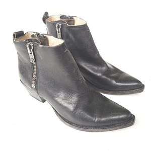 FRYE Sacha double zip black leather Ankle boots